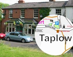 Picture of the Oak and Saw public house with inset map of Taplow